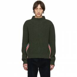 Thom Browne Green Stripe Relaxed Fit Boat Neck Sweater MKA249A-01085