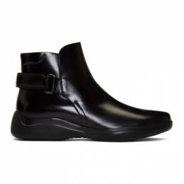 Prada Black Brushed Leather Ankle Boots 4T3450 B4L