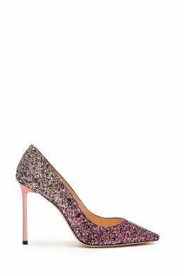 Туфли с розовым и золотым глиттером Romy 100 Jimmy Choo 25138461