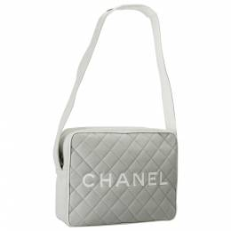 Chanel Light Grey/White Quilted Canvas and Leather Messenger Bag 203943