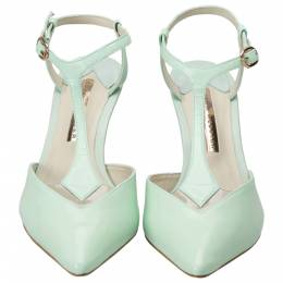 Sophia Webster Green Patent Leather Spearmint T Strap Pointed Toe Sandals Size 37 204067