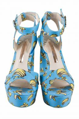 Sophia Webster Blue Banana Printed Fabric Amanda Ankle Strap Platform Sandals Size 37.5 204041