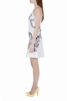 Roberto Cavalli White Cotton Poplin Contrast Embroidered Sleeveless Dress S 204611