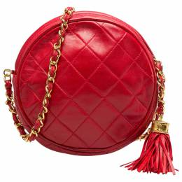Chanel Red Quilted Leather Vintage Round Crossbody Bag 203938
