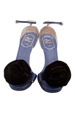 Roger Vivier Blue Satin And Black Floral Ankle Strap Platform Sandals Size 38