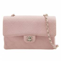 Chanel Light Pink Quilted Jersey Medium Vintage Classic Single Flap Bag 203676