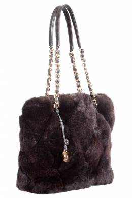 Chanel Dark Brown Fur Chain Shoulder Bag 203650