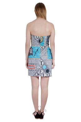 Matthew Williamson Multicolor Abstract Print Cotton Strapless Dress M 203651