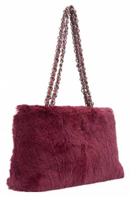 Chanel Maroon Fur Chain Shoulder Bag 203629