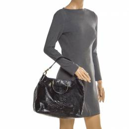 Mulberry Black Python Embossed Leather Hetty Tote 205978