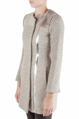 Peter Pilotto Beige Jacquard Wool Sliver Leather and Mink Fur Trim Double Breasted Coat S
