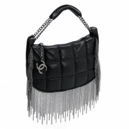 Chanel Black Quilted Metal Chained Fringe Bag 203625