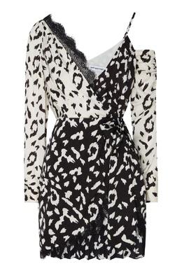 Черно-белое асимметричное платье мини Self-portrait 532138433