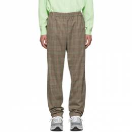 Tibi SSENSE Exclusive Brown Check James Pull On Trousers 192095M19100102GB