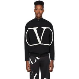 Valentino Black VLogo Zip-Up Sweater SV3KE00G5JD