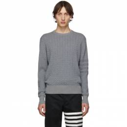 Thom Browne Grey Baby Cable Knit Crewneck Sweater MKA234A-00014