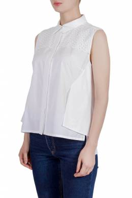 Peter Pilotto White Cotton Broderie Anglaise Trim Layered Sleeveless Shirt M