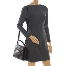 Bvlgari Black Leather Serpenti Viper Top Handle Bag