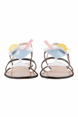 Moschino Multicolor Leather Cocktail Flat Sandals Size 37 204634