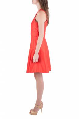 Carven Tangerine Cotton Silk Drop Waist Sleeveless Dress L 205317