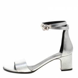 Hermes Metallic Silver Leather Manege Ankle Strap Sandals Size 38.5 205810