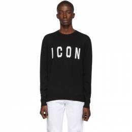 Dsquared2 Black Wool Icon Crewneck Sweater S74HA0995 S16813