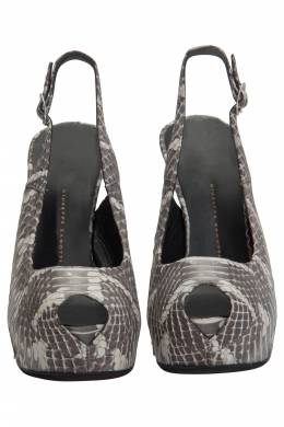 Giuseppe Zanotti Design Grey Python Leather Peep Toe Slingback Platform Pumps Size 37.5 205930