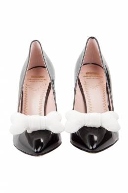 Moschino Black Patent Leather Bone Bow Pointed Toe Pumps Size 37