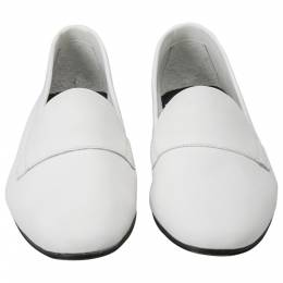 Pierre Hardy White Leather Jacno Slip On Loafers Size 37