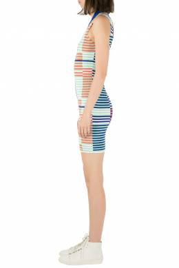 Kenzo Multicolor Rib Knit Striped Sleeveless Bodycon Dress M 206123
