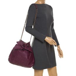 Carolina Herrera Burgandy Embossed Leather Bow Bucket Shoulder Bag 206124