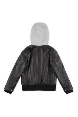 Кожаная куртка с капюшоном Philipp Plein Kids 2714139008