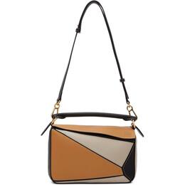 Loewe Tan and Black Small Puzzle Bag 192677F04801801GB