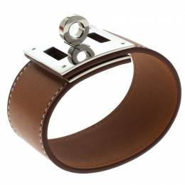 Hermes Kelly Dog Brown Leather Palladium Plated Wide Bracelet 222168