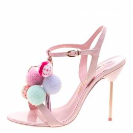 Sophia Webster Pink Patent Leather Layla Pom Pom Embellished T-Strap Sandals Size 38.5 215733