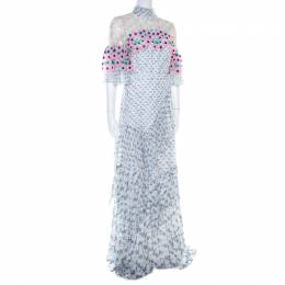 Peter Pilotto White Floral Print Lace Panelled Ruffled Silk Georgette Dress S
