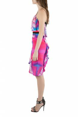 Peter Pilotto Multicolor Orchid Print Cutout Embroidered Silk Cascade Dress S