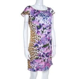 Just Cavalli Multicolor Leopard and Floral Print Cap Sleeve Shift DressM 206943