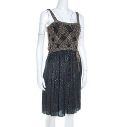 M Missoni Gold Crochet Detail Short Dress S 206590