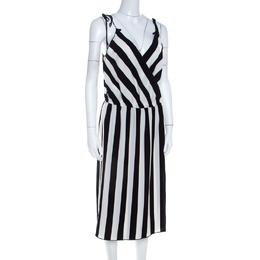 Marc Jacobs Monochrome Striped Crepe Faux Wrap Midi Dress M 206902