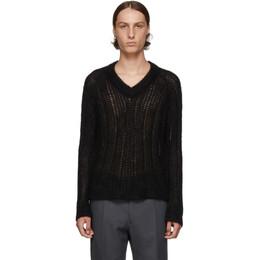 Prada Black Mohair V-Neck Sweater 192962M20600302GB