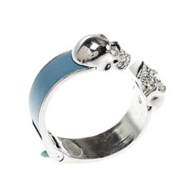 Alexander McQueen Blue Leather Crystal Twin Skull Open Cuff Bracelet 206877