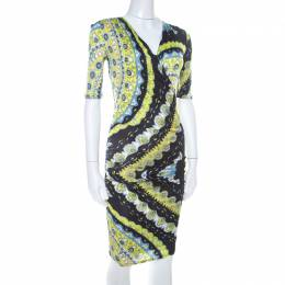 Emilio Pucci Multicolor Printed Stretch Jersey Plunge Neck Dress S 206949