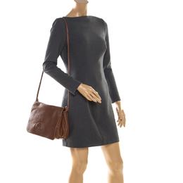 Carolina Herrera Brown Leather Flap Shoulder Bag 206514