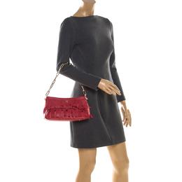 Carolina Hererra Red Leather Fringe Chain Shoulder Bag Carolina Herrera 206561