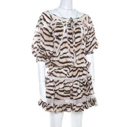 Just Cavalli Tiger Stripe Print Mesh Insert Smocked Waist Dress S 206954