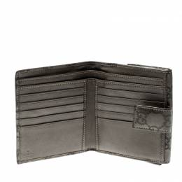 Gucci Metallic Grey Guccissima Leather Compact Wallet 206947