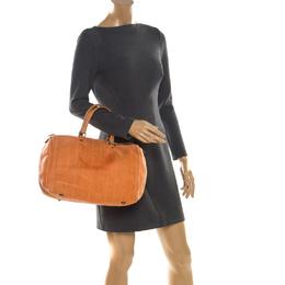 Carolina Herrera Orange Monogram Leather Large Andy Boston Bag 206463