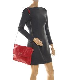 Carolina Herrera Red Leather Flap Shoulder Bag 206488