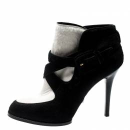 Tod's Monochrome Calf Hair Cross Strap Buckle Detail Ankle Boots Size 37.5 200944